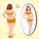 Fat woman looking in mirror and seeing herself as slim Royalty Free Stock Image