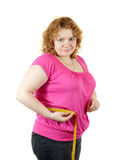 Fat woman measuring waist Royalty Free Stock Photography