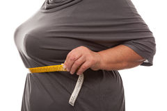Fat woman measuring waist Royalty Free Stock Images