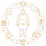 Fat woman, medical devices, tools and medicines. Health and treatment Stock Photos