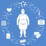 Fat woman, medical devices, tools and medicines. Health and treatment Stock Photo