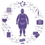 Fat woman, medical devices, tools and medicines. Health and treatment Royalty Free Stock Photography