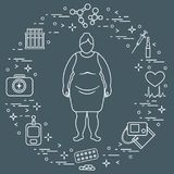Fat woman, medical devices, tools and medicines. Health and treatment Royalty Free Stock Photos