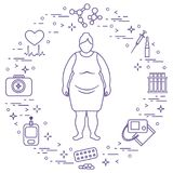 Fat woman, medical devices, tools and medicines. Health and treatment Royalty Free Stock Photo