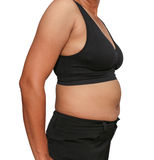Fat woman. Obese women accumulate fat around the abdomen, upper arms Stock Photos