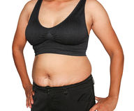 Fat woman. Obese women accumulate fat around the abdomen, upper arms Royalty Free Stock Photos