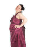 Fat woman in old-fashioned ball dress Stock Images