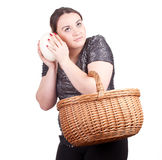 Fat woman with ostriches egg Stock Photo