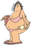 Fat woman in a pink bikini. This illustration depicts a large fat woman in a pink bikini carrying a towel and sunscreen Royalty Free Stock Photo