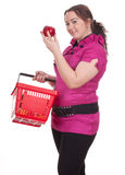Fat woman with red apple Stock Photos