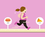 Fat woman running on tape measure. Calories Burned concept. Royalty Free Stock Photography