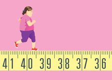 Fat woman running on tape measure for get in shape and lose weight. Stock Photo