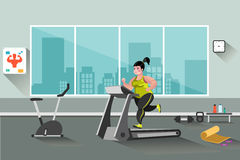 Fat woman running on a treadmill. A vector illustration of a fat woman running on a treadmill in a gym vector illustration