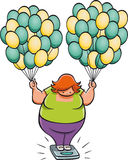 Fat woman. On scale handling helium balloons Royalty Free Stock Photo