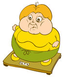 Fat woman on scales Royalty Free Stock Images