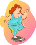 Fat woman on the scales Stock Image