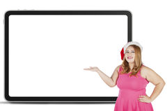 Fat woman showing empty board Royalty Free Stock Images