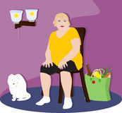 Fat woman sitting on a chair Royalty Free Stock Photography