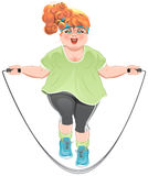 Fat woman skipping rope. Illustration in vector format Royalty Free Stock Photo