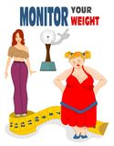 Fat woman and slim woman. With meter tape and weighting balance Royalty Free Stock Image