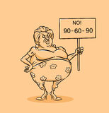 Fat woman slogan no diet Royalty Free Stock Photography