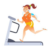 Fat woman on sport stationary treadmill Royalty Free Stock Photography