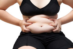 Fat woman squeeze belly obese wearing black underwear bra and pa Royalty Free Stock Photography