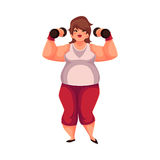 Fat woman training with dumbbells, doing weightlifting exercises. Fat woman training with dumbbells, cartoon vector illustration isolated on white background Royalty Free Stock Photos