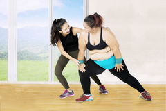 Fat woman trains with her personal trainer Stock Image