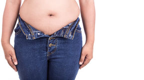 Fat woman trying to wear jeans : Fat and Healthy concept Stock Image
