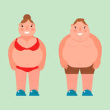 Fat woman vector flat illustration overweight body man person unhealthy big belly character. Stock Images
