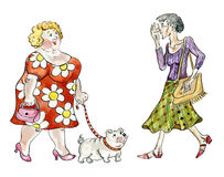 Fat woman walking fat dog. Comic illustration Stock Photos
