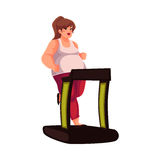 Fat woman walking on the treadmill, doing cardio exercises. Fat woman running on the treadmill, cartoon vector illustration isolated on white background. Obese Royalty Free Stock Images