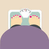 Fat woman weigh  icon Royalty Free Stock Photos