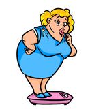 Fat woman weighed  scales cartoon illustration Stock Photos