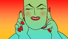 Fat woman cheerful pop art. Fat woman with white skin and red nails, tropical color striped background Stock Photos