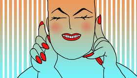 Cheerful fat woman. Fat woman with white skin and red nails, warm color striped background Stock Photo