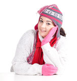 Fat woman in winter hat and mittens Royalty Free Stock Photos