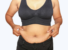 Fat woman. Women with fat belly and stretch marks Royalty Free Stock Images