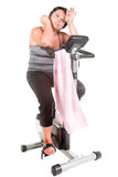 Fitness for fat woman Stock Image
