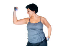 Fitness for fat woman Royalty Free Stock Photo