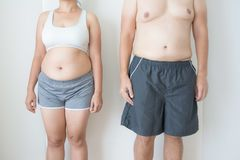 Fat women and fat men. On white background royalty free stock image