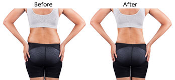 Fat women from rear. Fat belly woman from rear,before and after weight loss Stock Images