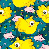 Fat Yellow Bird Seamless Pattern Royalty Free Stock Image