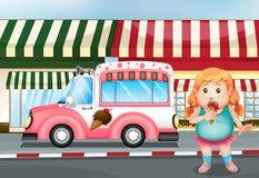 A fat young girl eating icecream Stock Photos