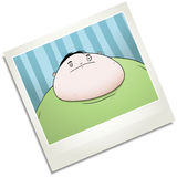 Fat young man in photo booth polaroid cartoon character Stock Photography