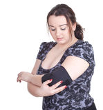 Fat young woman in medical bandage Stock Photo