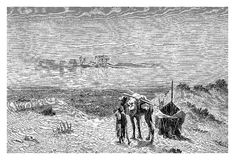 Fata Morgana mirage in the desert, vintage engraving Stock Images