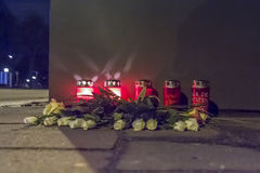 Fatal Accident. Candles and Flowers on a sidewalk after a fatal car accident stock photos