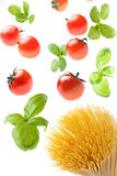 Fatal Attraction. Tomatoes and basil falling on spaghetti Royalty Free Stock Images